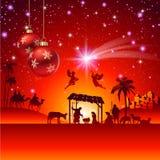 Cena da natividade do Natal do vetor Fotografia de Stock Royalty Free
