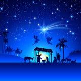 Cena da natividade do Natal do vetor Imagens de Stock Royalty Free