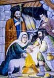 Cena da natividade do Natal - Jesus Mary Joseph imagem de stock