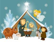 Cena da natividade dos desenhos animados com família santamente Foto de Stock Royalty Free