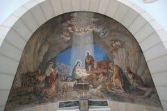 Cena da natividade, igreja do campo dos pastores de Bethlehem Fotografia de Stock