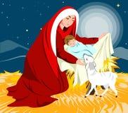 Cena da natividade que mostra o nascimento de Jesus Imagem de Stock Royalty Free