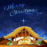 Cena da natividade que mostra o nascimento de Jesus no Natal Fotos de Stock Royalty Free