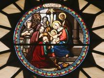 Cena da natividade, vidro manchado, igreja de St Catherine, Bethlehem foto de stock