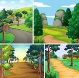 Cena da natureza com estradas e floresta ilustração royalty free