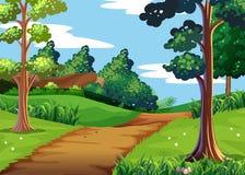 Cena da natureza com floresta e a fuga de passeio ilustração stock