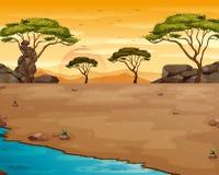 Cena da natureza com o rio no por do sol ilustração royalty free