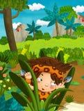 Cena da natureza dos desenhos animados - selva - com o menino engraçado do manga - cena feliz ilustração do vetor