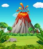 Cena da natureza da erupção do vulcão ilustração royalty free