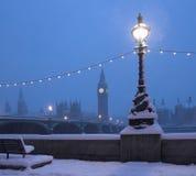 Cena da neve da skyline de Londres Fotografia de Stock