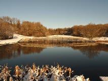 Cena da neve do inverno - lago da pesca em Wales Foto de Stock