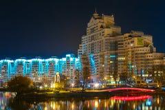 Cena da noite da ilha dos rasgos em Minsk, do centro Fotos de Stock Royalty Free