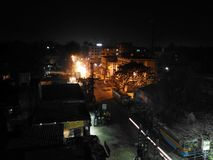 Cena da noite da parte superior do telhado Fotografia de Stock Royalty Free