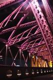 Cena da noite da ponte colorida de Waibaidu Foto de Stock Royalty Free
