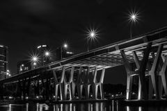 Cena da noite da ponte de Sheares Fotos de Stock Royalty Free