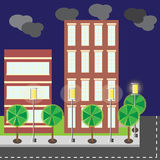 Cena da noite da rua da cidade da construção do estilo dos desenhos animados ilustração do vetor