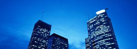 Cena da noite da skyline de Montreal Fotografia de Stock Royalty Free