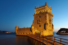 Cena da noite da torre de Belém Imagens de Stock Royalty Free