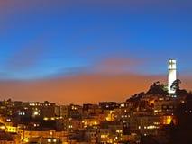 A cena da noite da torre do coit Imagem de Stock Royalty Free