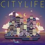 Cena da noite da vida urbana Imagem de Stock