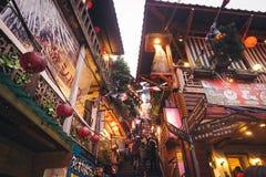 Cena da noite da vila de Jioufen em Taiwan fotos de stock royalty free