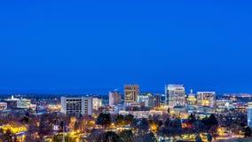 Cena da noite de Boise Idaho Fotos de Stock