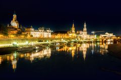 Cena da noite de Dresden imagem de stock