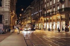 A cena da noite de Milão Fotografia de Stock Royalty Free