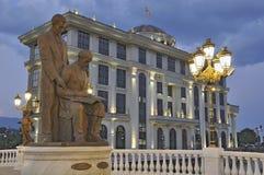 Cena da noite de Skopje Imagens de Stock Royalty Free