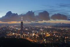 Cena da noite de Taipei Fotografia de Stock