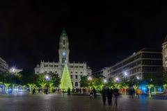 Cena da noite do dos Aliados de Avenida, em Porto Imagens de Stock