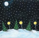 Cena da noite do inverno Fotografia de Stock Royalty Free