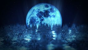 Cena da noite da lua, ilustração da floresta do inverno, fundo abstrato da natureza, animação da paisagem do laço, ilustração royalty free