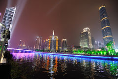 Cena da noite na cidade nova de guangzhou Zhujiang Fotografia de Stock