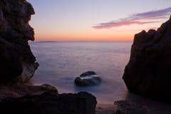 Cena da noite no mar Imagens de Stock