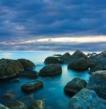 Cena da noite no mar Fotografia de Stock