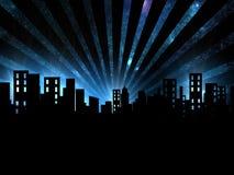 Cena da noite, opinião da noite da cidade ilustração do vetor