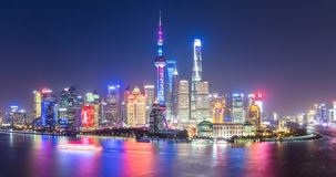 Cena da noite da skyline de shanghai Fotografia de Stock