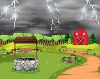 Cena da paisagem da tempestade do relâmpago ilustração do vetor