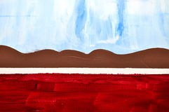 Cena da pintura da montanha Foto de Stock Royalty Free