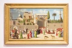 Cena da pintura na lente do Louvre, França Foto de Stock