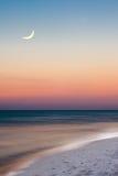 Cena da praia da noite de Florida da praia de Panama City fotografia de stock royalty free
