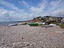 Cena da praia de Devon Seaside imagem de stock