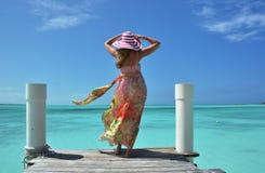 Cena da praia. Exuma, Bahamas Imagens de Stock