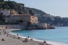Cena da praia no Riviera Imagem de Stock Royalty Free