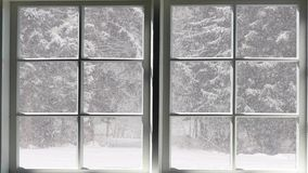 Cena da queda da neve
