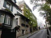 A cena da rua ao longo da rua lá é casas de residência com fachadas de pedra e as paredes de ondulação imagens de stock royalty free