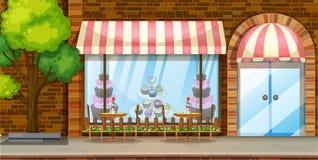 Cena da rua com loja da padaria Imagem de Stock