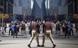 Cena da rua das reflexões de Manhattan Imagem de Stock