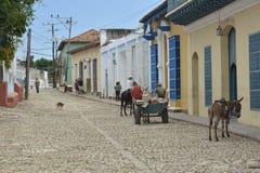 CENA DA RUA DE CUBA TRINIDAD Foto de Stock Royalty Free